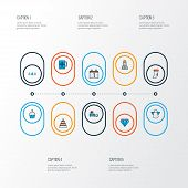 New Icons Colored Line Set With Christmas, Forest, Cupcake And Other Halo Elements. Isolated  Illust poster