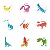 Carnivorous Dinosaurs Icons Set. Cartoon Set Of 9 Carnivorous Dinosaurs Icons For Web Isolated On Wh poster