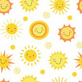 Sun Seamless Pattern. Summer Hot Weather Sunshine Heat Funny. Doodle Sun Vector Endless Texture. Ill poster