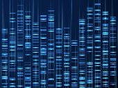 Genomic Data Visualization. Dna Genome Sequence, Medical Genetic Map. Genealogy Barcode Vector Backg poster