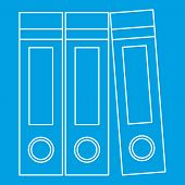 Archive Folders Icon Blue Outline Style Isolated Illustration. Thin Line Sign poster
