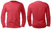 Blank Long Sleeved Shirt Mock Up Template, Front And Back View, Isolated On White, Plain Red T-shirt poster