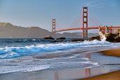 Golden Gate Bridge view from Baker Beach. Pacific coast landscape. San Francisco, California, USA poster