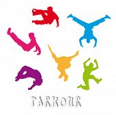 picture of parkour  - Set of 6 parkour silhouettes  - JPG