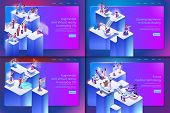 Augmented And Virtual Reality In Everyday Life. Vector Set Banner Isometric Future Medical Technolog poster