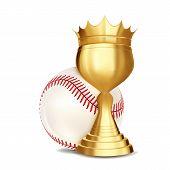 Baseball Award Vector. Baseball Ball, Golden Cup. Banner Advertising. Sport Event Announcement. Comp poster