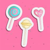 Cute Funny Girl Teenager Colored Icon Set Sticker Lollipops, Fashion Cute Teen And Princess Icons. M poster
