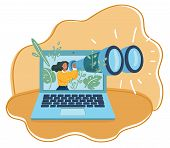 Vector Cartoon Illustration Of Global Monitoring. Tiny Woman With A Giant Laptop Interacts Looking T poster
