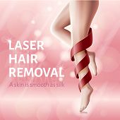 Silky Legs Skin Concept. Laser Hair Removal. Advertising Banner For Woman. Red Ribbon Around Leg. Sm poster