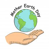 Illustration Of A Hand Holding The Planet Earth With Text Mother Earth Day poster