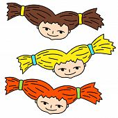 Smiling Girl Face With Blonde, Brown And Red Hair. Doodle Girl Head Vector Illustration On White Bac poster