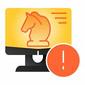Trojan Virus Flat Icon. Horse On Desktop Color Icons In Trendy Flat Style. Computer Virus Gradient S poster