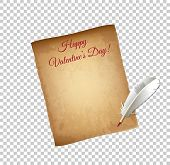 Old Grungy Parchment Paper And Quill Pen Isolated On Transparent Background. Happy Valentines Day Gr poster