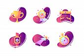 Set Icons With Winner Cup, Stopwatch, Finishing Tape, Prize. Concept Collection Modern Symbols For S poster