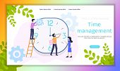 Work Time Management Organization Vector Banner. Female Manager Control Human Resources Economy. Peo poster