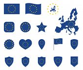 European Union Flag Icons Set, Symbols Of Eu Flag poster
