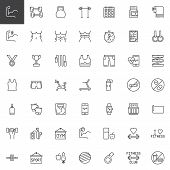 Fitness Gym Equipment Line Icons Set. Linear Style Symbols Collection, Outline Signs Pack. Vector Gr poster