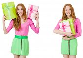 Beautiful woman in green skirt with giftbox poster