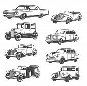 Monochrome Vector Cars, Isolated Vintage Vehicle. Old Vehicles Exhibition And Motor Show. Vector Vin poster