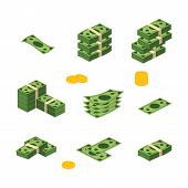 Various Money Bills Dollar Cash Paper Bank Notes Vector Set. Money Cash Heap. Vector Stock Illustrat poster