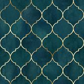 Vintage Decorative Moroccan Seamless Pattern With Gold Line. Watercolor Hand Drawn Dark Green Teal B poster