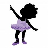 picture of carron  - Little african american ballerina girl on a white background - JPG
