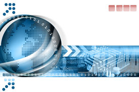 image of world-globe  - Technology background with computer components and world - JPG