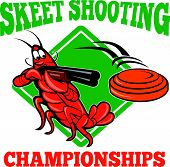 stock photo of crawdads  - Illustration of a crayfish lobster skeet target shooting using shotgun rifle aiming at flying clay disk with diamond shape in background done in cartoon style with text skeet shooting championships - JPG