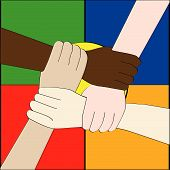 picture of joining hands  - Illustration of hands of people from different races holding each other to create a strong link - JPG