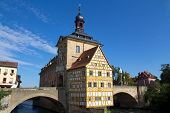 stock photo of regnitz  - The historical town hall of Bamberg - JPG