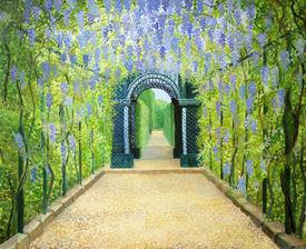 stock photo of schoenbrunn  - An oil painting on canvas of a garden walkway at Schonbrunn Palace in Vienna Austria - JPG