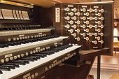 pic of pipe organ  - Church Pip Organ Keyboard with Control Buttons Closeup Macro - JPG