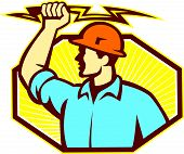 stock photo of lineman  - Illustration of an electrician wielding holding a lightning bolt facing side done in retro style in isolated white background - JPG