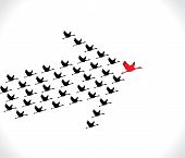 picture of geese flying  - Leadership and Synergy Concept Illustration  - JPG