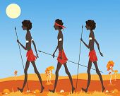 stock photo of loin cloth  - an illustration of a three australian aborigine men dressed in traditional clothing walking in the outback in a parched landscape under a hot sun - JPG