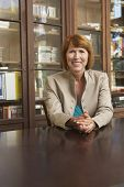 stock photo of shelving unit  - Portrait of a smiling middle aged woman sitting at study table in living room - JPG