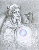 pic of witch ball  - Illustration of fairy with magic ball and cat in background - JPG