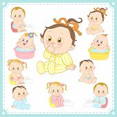 picture of defecate  - vector illustration of baby boys and baby girls with white background - JPG