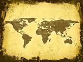 World Map, Grunge poster