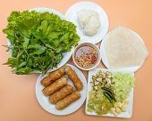 picture of nuong  - vietnamese food pork sausage with vegetable  - JPG