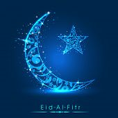 Muslim community festival Eid Al Fitr (Eid Mubarak) concept with decorated shiny moon and star on sh