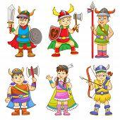pic of thor  - set of cartoon viking - JPG