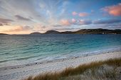 Colorful Sunrise Over Vatersay Beach, Western Isles, Scotland