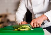 Chef Chopping Leek, Doing Preparations