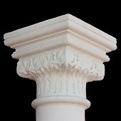 stock photo of neo-classic  - Classical white column capital with leafs isolated on black - JPG