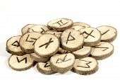 stock photo of wicca  - studio shot collection of old wooden runes - JPG