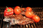 Tenderloin Steak On Bbq Grill With Vegetables