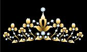 picture of tiara  - Vintage golden tiara with jewels on black background - JPG