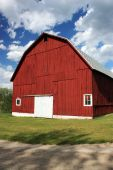 picture of red barn  - Side of the a red barn in Michigan - JPG