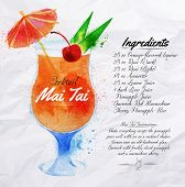 pic of cocktail menu  - Mai Tai cocktails drawn watercolor blots and stains with a spray - JPG